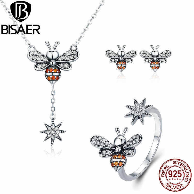 BISAER 925 Sterling Silver Jewelry Sets Bee Crystal Bee Vintage Insect Ring Earrings Necklaces for Fashion Dubai Jewelry Set