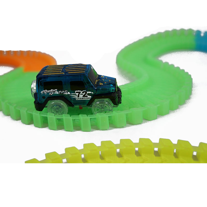 Railway Road Luminous Racing Flexible Track Play Set Bend Magical Glow In Dark Electronic Light Car Race Track Toys For Children