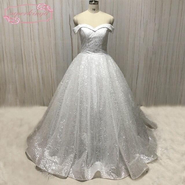 Superkimjo Vestido De Noiva Off The Shoulder Wedding Dresses 2018 Sequin Sparkly Luxury Elegant Ball