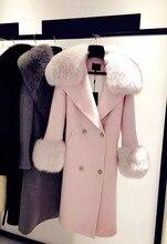 Woman Coat Autumn Winter Fashion Women Warm Cashmere Woolen Coat With Big Fox Fur Collar Outwear