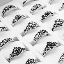100 Pieces/lot Mix Retro Ring Wholesale Flower Charm Antique Silver Plated Statement Small Vintage Ring for Women and Men