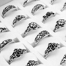 100 ชิ้น/ล็อตผสม Retro แหวนขายส่งดอกไม้ Charm โบราณ Silver Plated Statement Vintage แหวนสำหรับสตรีและผู้ชาย