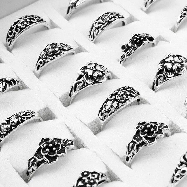 100 יח\חבילה לערבב רטרו טבעת סיטונאי פרח קסם עתיק כסף מצופה הצהרת קטן בציר טבעת לנשים וגברים