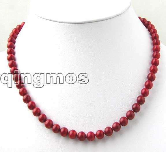 Qingmos Beautiful 6-7mm High quality Round Red Natural Coral 17 Necklace-nec7013 Wholesale/retail Free shipping