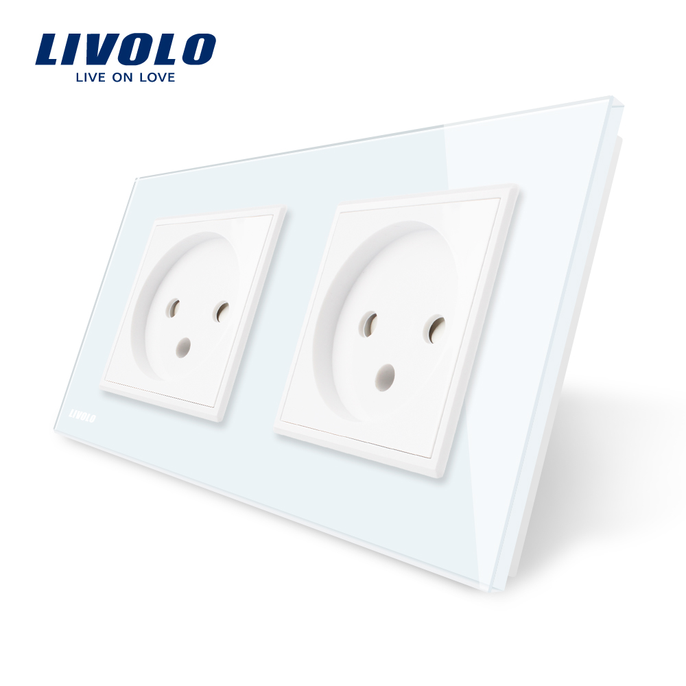 цена на Livolo EU Standard double Israel Power Socket, Glass Panel, AC 100~250V 16A Wall Power Socket, VL-C7C2IL-11/12/13/15(4colors)