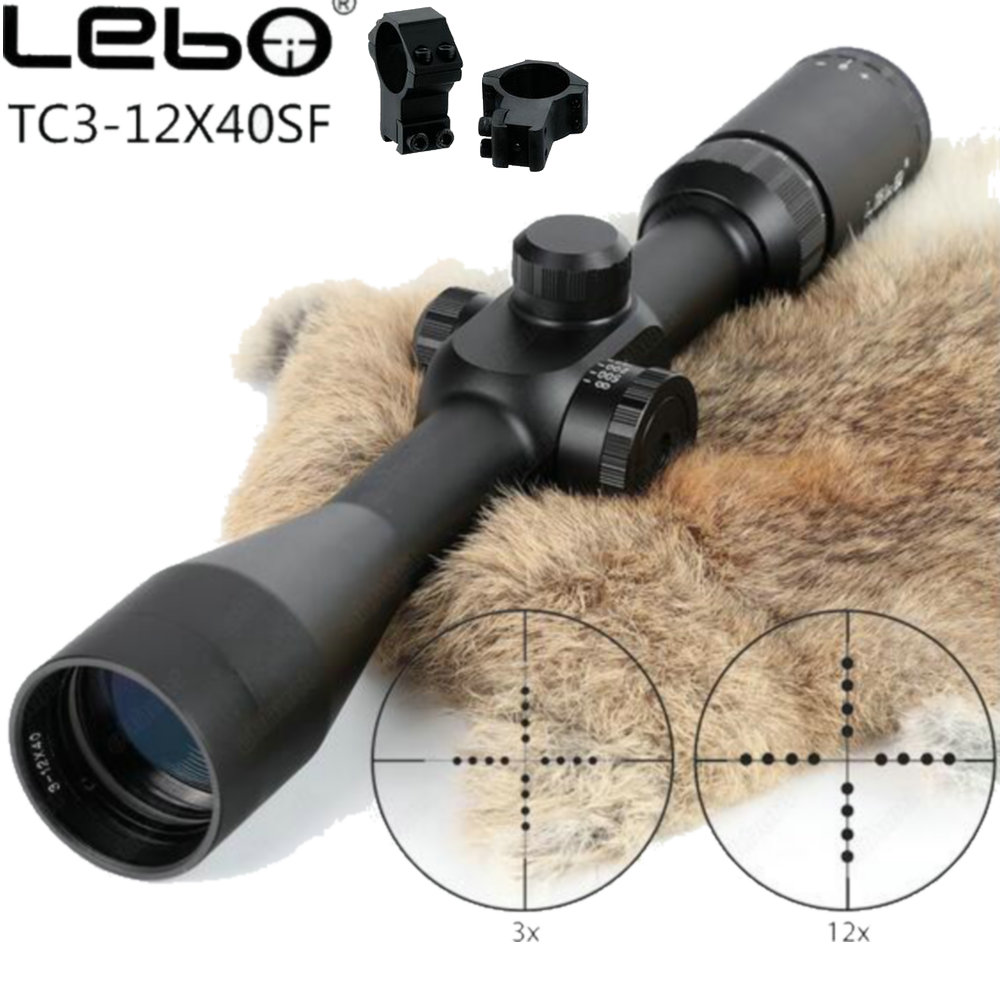 LEBO TC 3-12X40SF Riflescope First Focal Plane Side Parallax Mil-dot Glass Etched Reticle Hunting Tactical Shooting Rifle Scopes