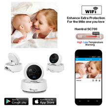 Homtrol Mega Pixel Smart Home Wifi IP Camera with Temperature and Humidity Sensor & Motion Detection Push Alarm Notification