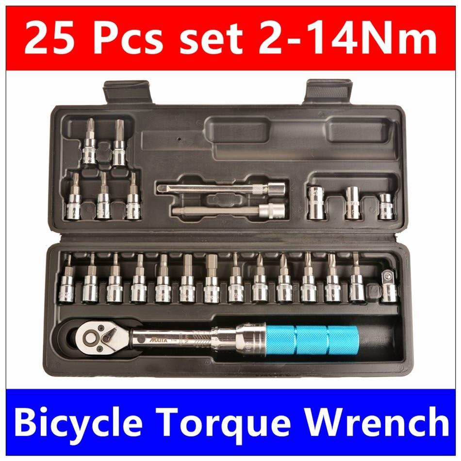 Mxita 25 Pcs set Bicycle torque wrench 1/4DR 2-14Nm bike tools kit set tool bike repair spanner hand tool set mxita 15 pcs set bicycle torque wrench 1 4dr 2 14nm bike tools kit set tool bike repair spanner hand tool set