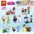 Girl Friends Elsa's Sparkling Ice Princess figures Cinderella's Romantic Castle Anna Elsa Building Blocks Toys LELE 37006