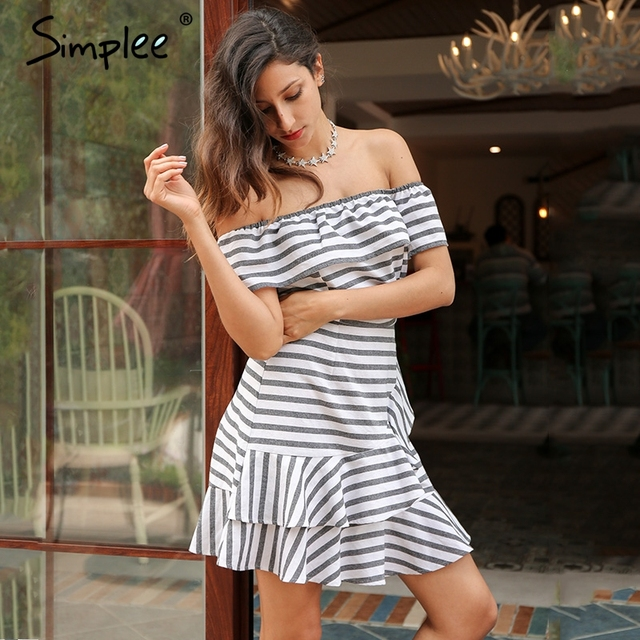 Simplee Sexy ruffle stripe summer dress Off shoulder short sleeve plaid women dress casual party beach mini dress vestidos 2017