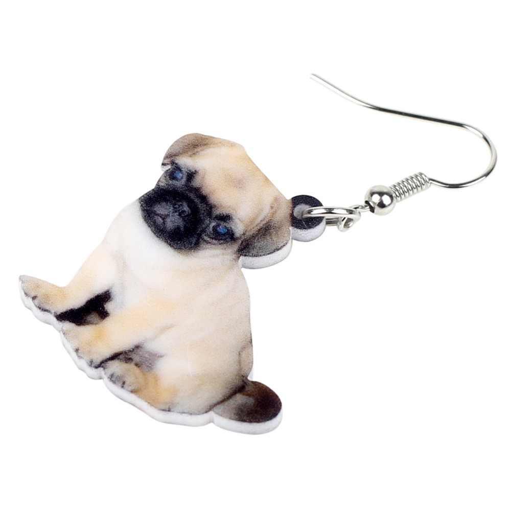 Bonsny акриловые милые крошечные щенок-Мопс серьги для собак Висячие Горячие Элегантные новые ювелирные изделия для животных для женщин девочек подростков любителей домашних животных