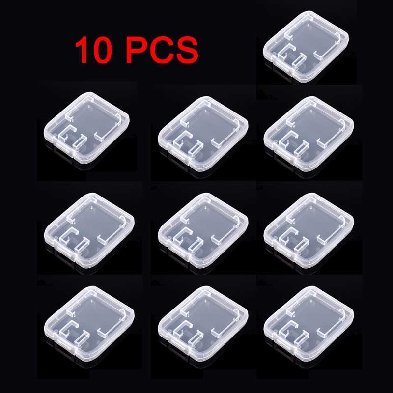 10PCS Plástico Transparente de Almacenamiento Estuche Soporte Caja estándar SD//SDHC Tarjeta de memoria