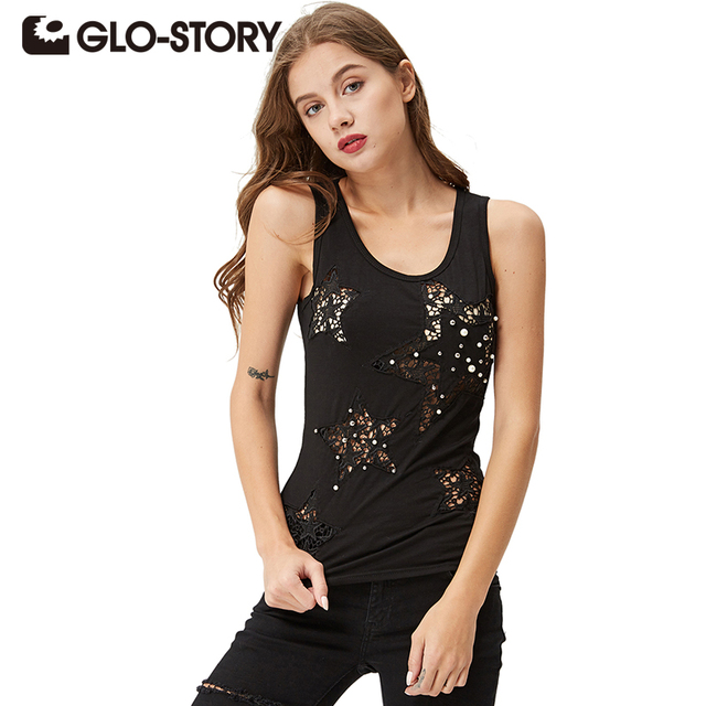 Glo-story 2017 gráfico tanque das mulheres verão tops estrela oco oco frisado multi-cor da moda colete wpo-3323