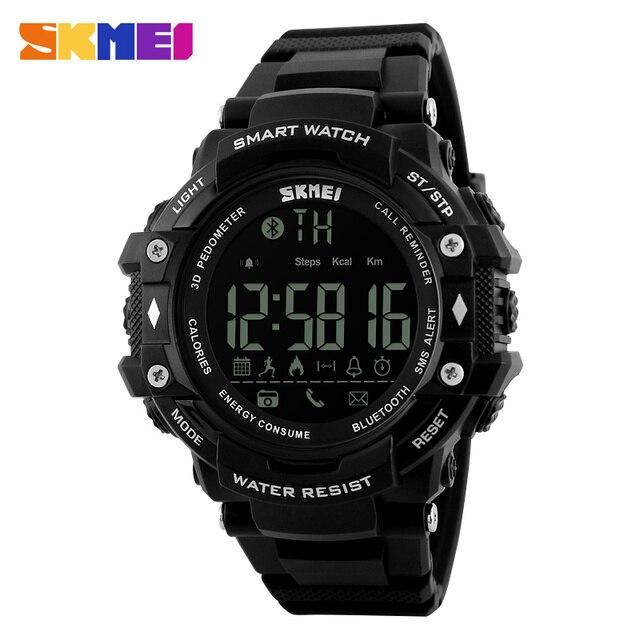 Digutal SKMEI Relojes de Pulsera Hombres Deporte Inteligente de Mensajes Bluetooth Llamada de Recordatorio Recordatorio Reloj Resistente Al Agua pantalla LED 5Bar