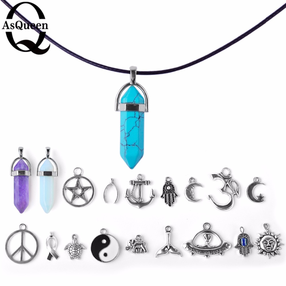 19Styles New Fashion Jewelry Link Chain Crystal Wishbone Moon Sun Elephant Tortoise Om Pendant Necklace Mix For Women Girl Gift