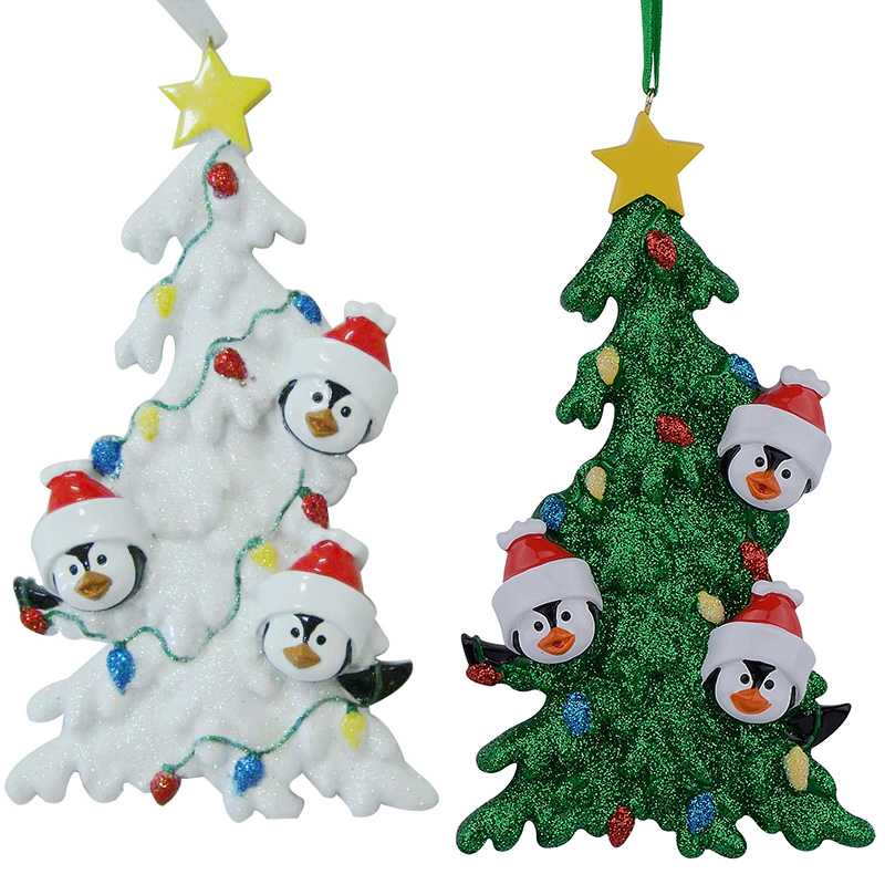 Resin Penguin Family Of 3 Christmas Ornaments With White Tree As Personalized Gifts Holiday Home