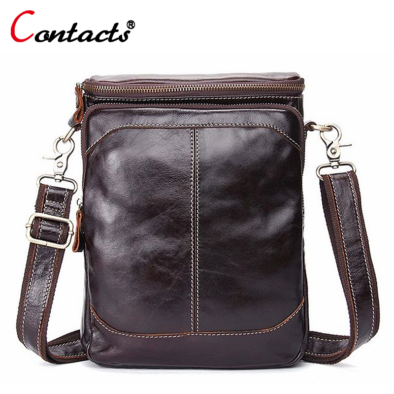 CONTACT'S Genuine Leather Bag Men Crossbody Bags Famous Brand Male Leather Briefcase Men Messenger Bag Large Capacity Bags Men augus 100% genuine leather laptop bag fashional and classic crossbody bags leather for men large capacity leather bag 7185a