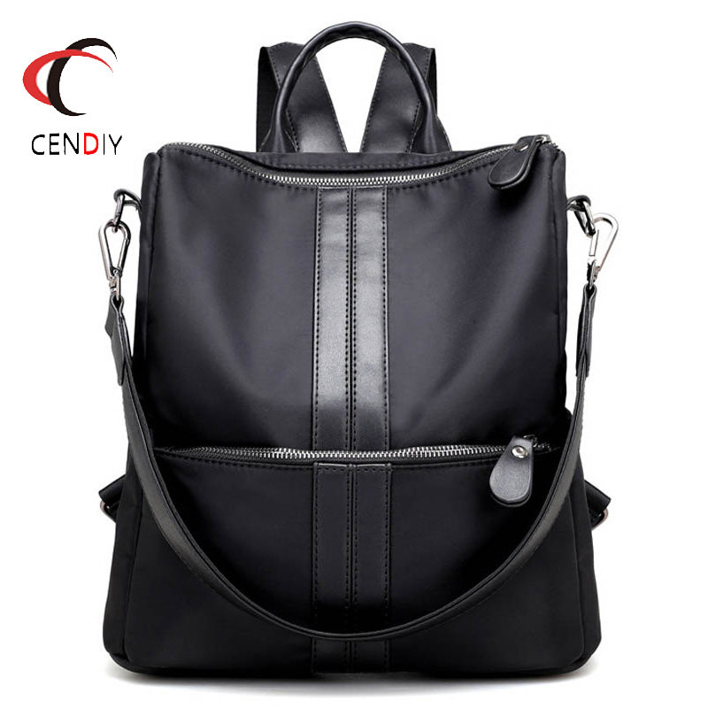 Fashion Women Backpack Female Nylon Oxford Backpack School Bag Chain Shoulder Bag Waterproof Backpacks For Adolescent Girls tegaote new design women backpack bags fashion mini bag with monkey chain nylon school bag for teenage girls women shoulder bags