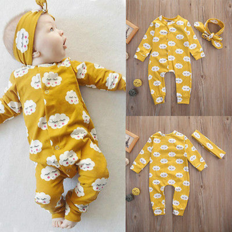 Infant Newborn Baby Kids Girls   Rompers   Jumpsuit Headband 2pcs Girls Sets Outfits Cute Printed Baby Girls Clothes 0-18 Months