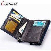 CONTACT S Genuine Leather Short Men Wallets Vintage Zipper Hasp European American Purse Male Clutch Card