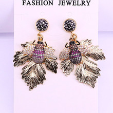 New Fashion 5Pairs Gold Metal Maple Leaf And CZ Micro Pave Insect Drop Dangle Earrings for Women