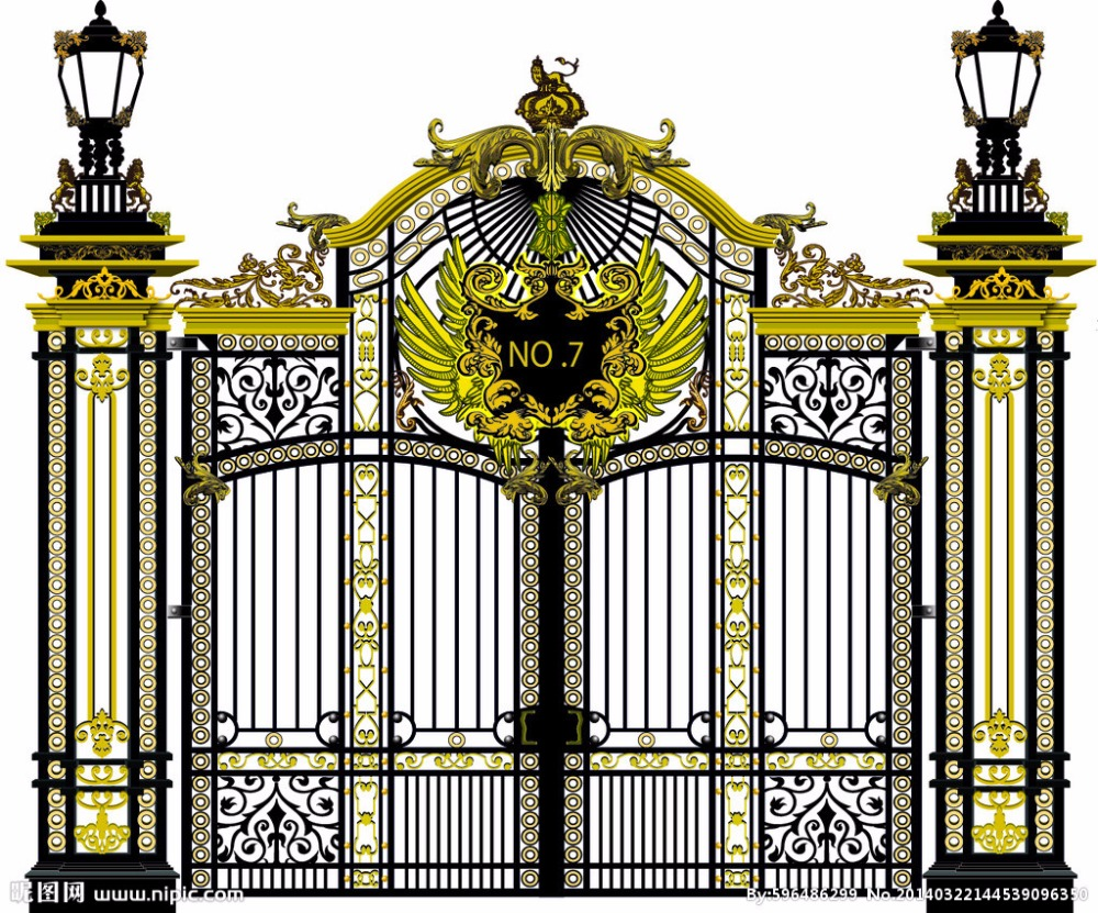 Shanghai wrought iron gates,security iron gates new design automatic sliding gates hwg16
