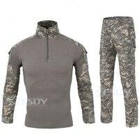 خريف شتاء نمط العسكرية الرجال الصيد القمصان ملابس طويلة الأكمام + السراويل مجموعة الرجال كامو الجيش القتالية التكتيكية t قميص
