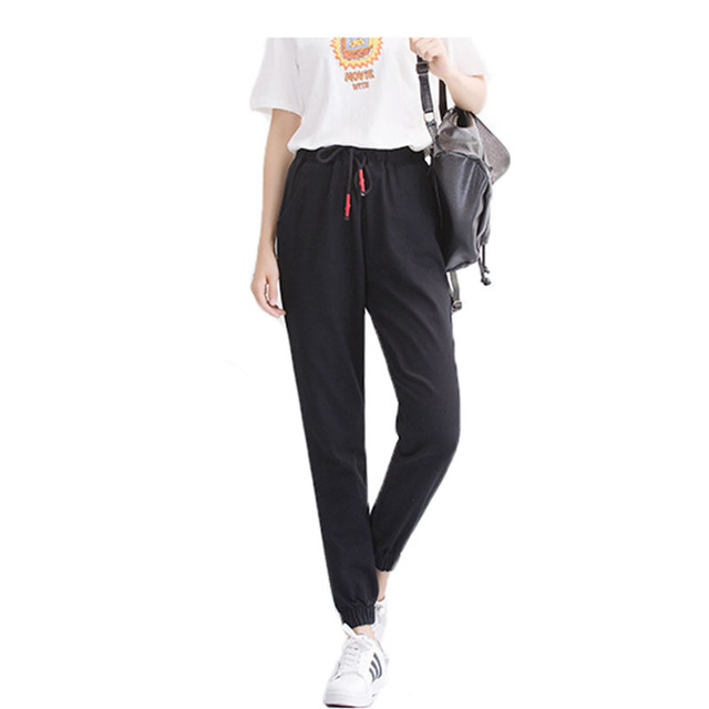 find workmanship performance sportswear lowest discount New Fashion of Women Leather Striped Harem Pants Women Casual High Waist  Pants Drawstring Loose Trousers Pantaloon-in Pants & Capris from Women's ...