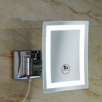 Bathroom wall hanging rotating square LED light bathroom magnifying beauty mirror folding telescopic double mirror lo821612