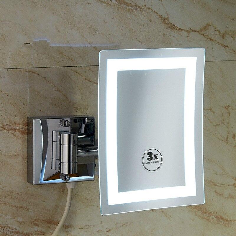 Bathroom wall hanging rotating square LED light bathroom magnifying beauty mirror folding telescopic double mirror lo821612 цена 2017