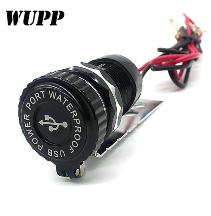 WUPP Dual Portable Waterproof Aluminum Alloy Body Car Auto Motorcycle Scooter 3.1A Dual USB Power Supply Socket Charger Adapter