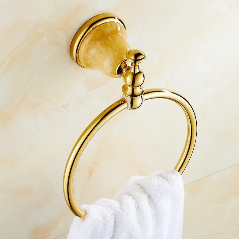 ФОТО 2016 NEW  Luxurious Gold Design Towel Ring /Fashion Brass Wall Mount Bath Towel Holder &Towel Hanging Bathroom Accessories
