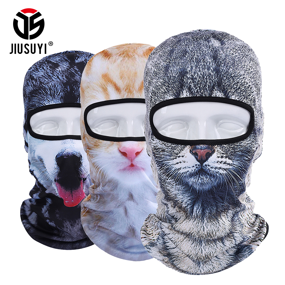 Winter 3d Animal Balaclava Full Face Mask Combat Bicycle Hats Warmer Snowboard Party Cat Dog Printed Protect Scarf Cap Men Women Men's Hats
