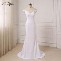 ADLN In Stock Simple Long Evening Dresses Mermaid Sexy Deep V Neck Women Evening Gowns Robe