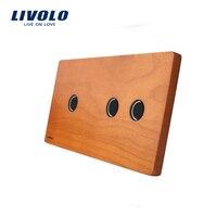 Livolo Luxury Cherry Wood Panel 151mm 80mm Panel Only EU Standard Double Wood Panel VL C7