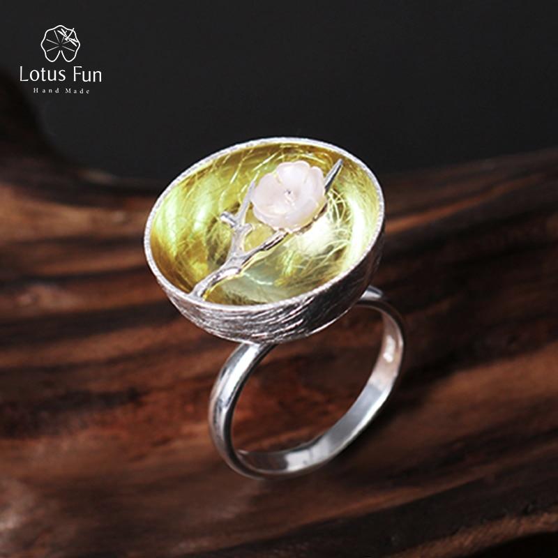 Lotus Fun 925 Sterling Silver Rings for Women Fine Jewelry Flower Adjustable Rings Bohemian Jewelry Ladies