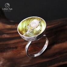 Lotus Fun 925 Sterling Silver Rings for Women Fine Jewelry Wintersweet Flower Adjustable Rings with Stones Punk Bohemian Jewelry