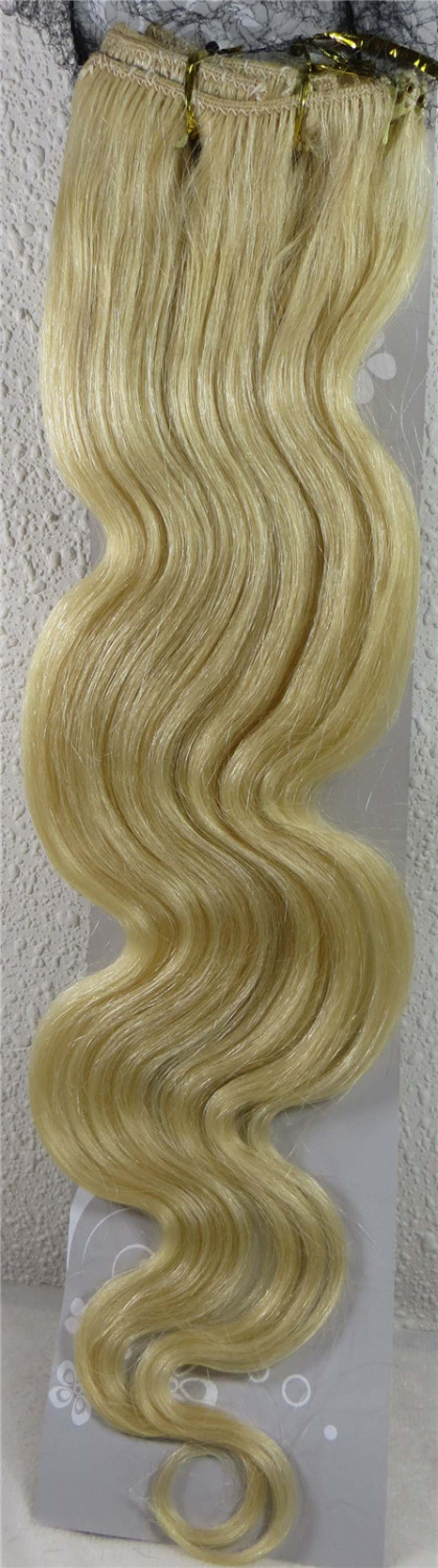 Wholesale 22″ Women's Remy Human Hair Clips In Extensions Body Wavy 7Pcs 75g Light Blonde #613