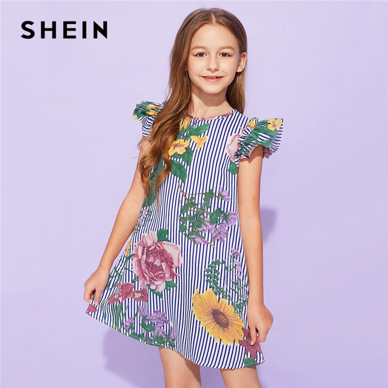 SHEIN Kiddie Striped And Floral Print Ruffle Armhole Girls Cute Dress 2019 Summer Cap Sleeve Button Flared Boho Dresses For Kids striped star print irregular dress