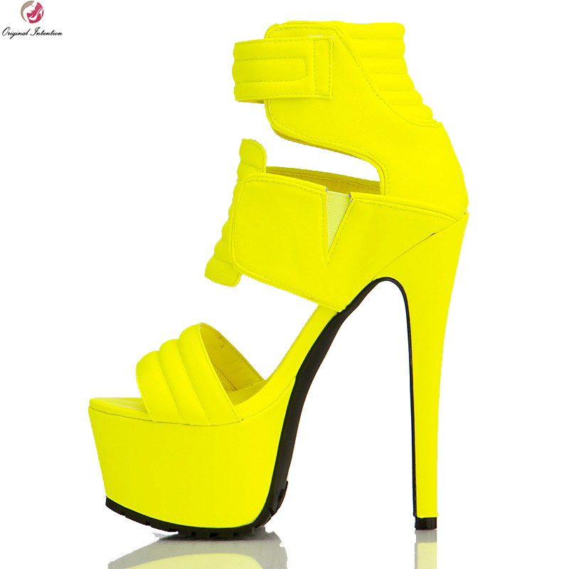 original intention super sexy women sandals fashion open toe thin high heels fashion black red shoes woman plus us size 4 15 Original Intention Fashion Women Sandals Platform Open Toe Thin High Heels Sandals Black Yellow Shoes Woman Plus US Size 4-15