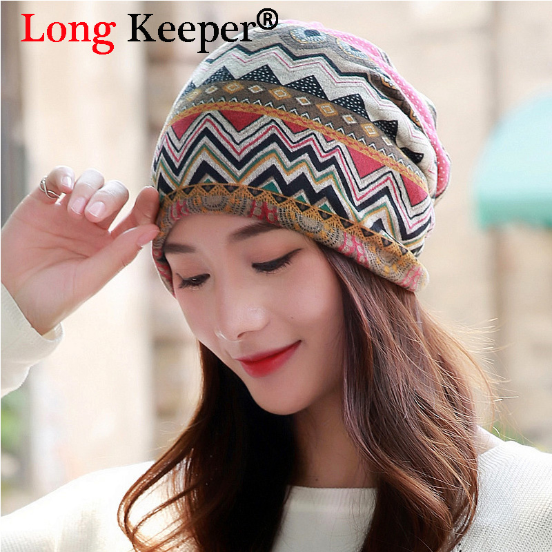 Long Keeper Women's Warm Autumn Knitting Cotton Hat & Scarf Ladies Wave stripes Designer Beanie Cap Women Skullies Girls Gorros the new 2016 han edition affixed cloth wave cap hat hat tip to keep warm letter knitting hat qiu dong men and women