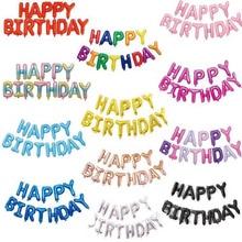 Ballons à feuille pour anniversaire, 16 pouces, décorations pour fête prénatale, à Air, en lettres pour joyeux anniversaire