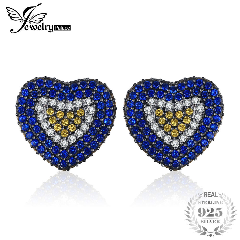 JewelryPalace Love Heart 1.5ct Created Blue Spinel Created Sapphire Cluster Stud Earrings 925 Sterling Silver Fine Jewelry