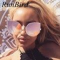 2016 cat eye sunglasses mujer metal de la manera de la vendimia marco espejo aviación gafas de sol únicas señoras planas gafas de sol uv400 r058