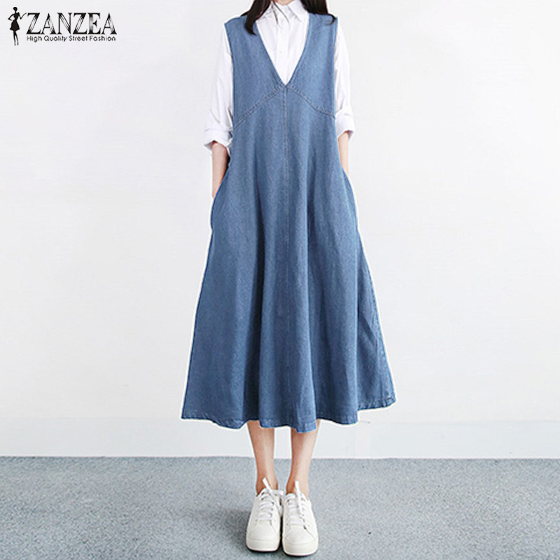 Womens Jeans Sundress 2020 ZANZEA Female Denim Blu