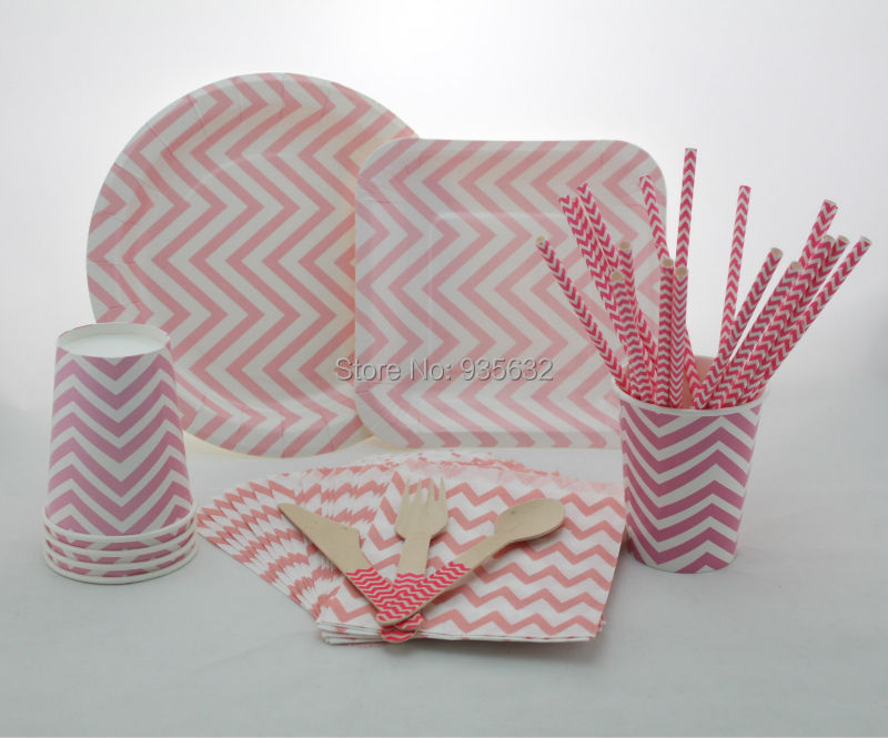 346pcs Party Tableware Sets paper straws cups plates bags Wooden Cutlery Cool Black Chevron Party Supplies-in Event u0026 Party from Home u0026 Garden on ... & 346pcs Party Tableware Sets paper straws cups plates bags Wooden ...