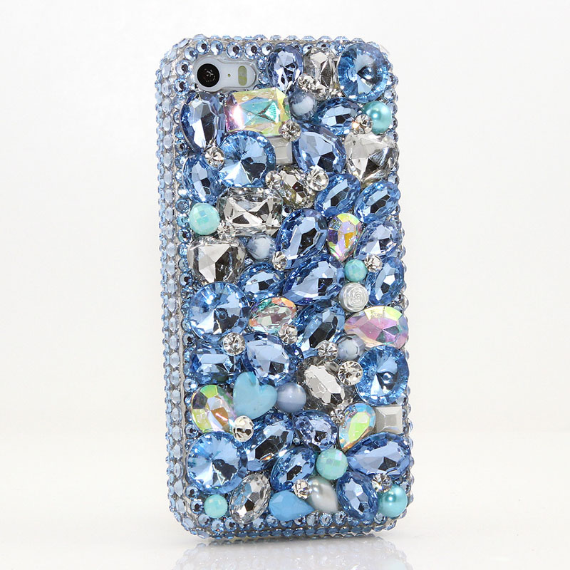 Blue Bling Crystal Woman Handmade Rhinestone Diamond Gift Phone Cover Case For Google Pixel/Pixel XL/Google Pixel 2/Pixel XL 2