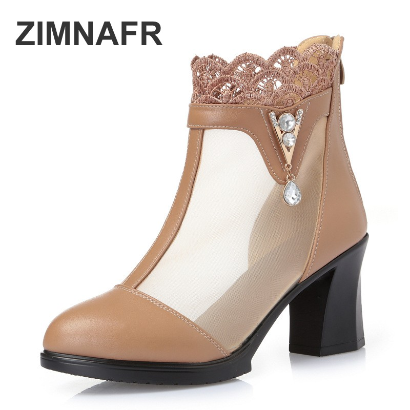 ZIMNAFR BRAND WOMEN SANDALS HOLLOW MESH HIGH HEEL LEATHER SANDALS WOMEN GLADIATOR SANDALS WOMEN SUMMER SHOES PLUS SIZE 35-41 classic leather sandals classic leather sandals women sandals summer sandals