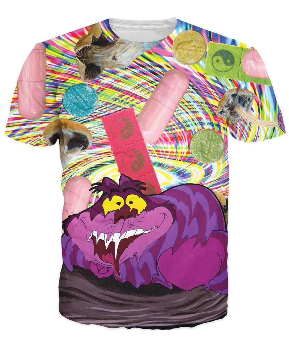Man/'s T-shirt Cartoon Cheshire cat Printed Short Sleeve t-shirt S-6XL T-shirt