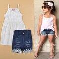 Bebé set del verano del estilo niños de moda del partido ropa blanca de la gasa T shirts + pants de mezclilla diseñador ropa bebe infantil niño